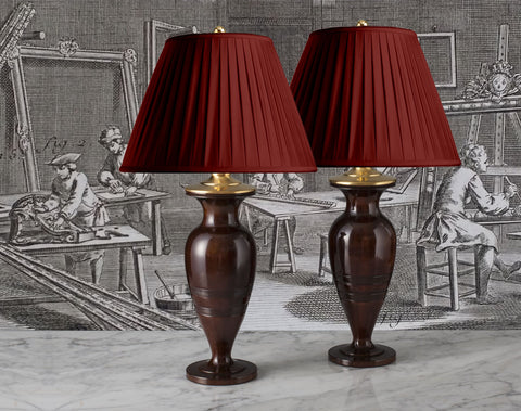 Antique Lamps With The Simple Line Of Polished Wood