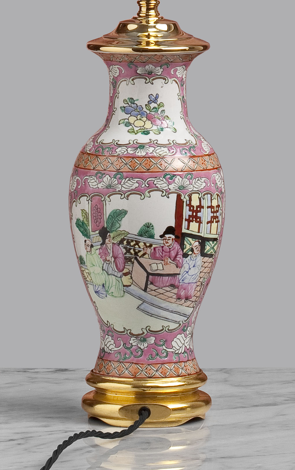 A033 An English Staffordshire Baluster Shaped, Rose Pink Lamp - Circa 1910