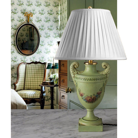 A045  A Vintage French Green Limed Silver Shaped Accent Lamp - Circa 1925