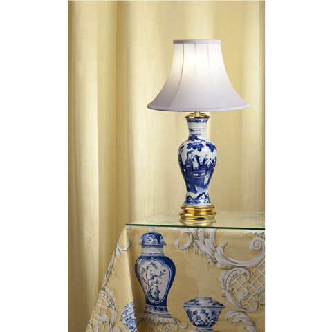 "B019  An Antique Chinese Blue and White Lamp, ""Boys at Play"" - Circa 1860"