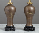 B031  A Small Pair of Papier-Mâché, Mei Ping Shaped Chinese Accent Lamps - Circa 1900
