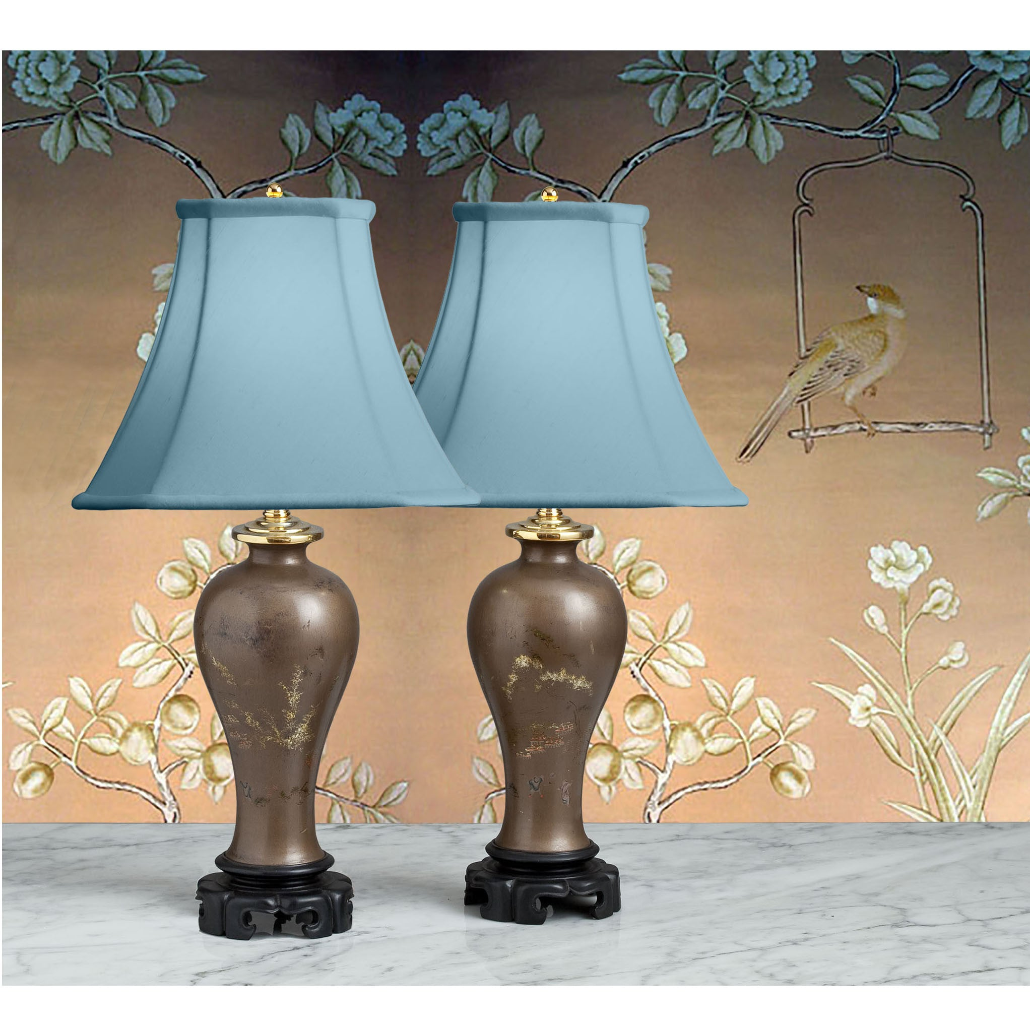 Small accent lamp - B031 A Small Pair Of Papier M Ch Mei Ping Shaped Chinese Accent Lamps