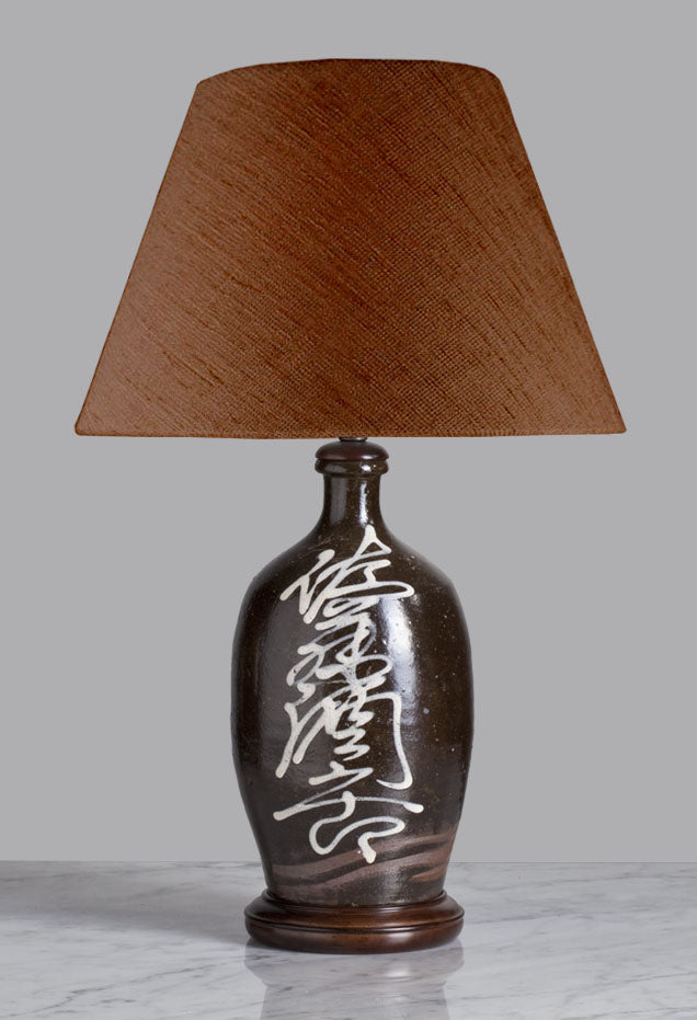 B056  A 19th Century Rustic Japanese Rosuku shaped Tamba Kiln Tokkuri Lamp - Circa 1870