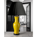 B077  A Vintage American Art Deco Lamp With A Bright Yellow Glaze - Circa 1930's