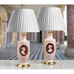 "B094 A Pair of Tall French, Paris Decorated, Porcelain Lamps ""Angel Skin"" - Circa 1870"