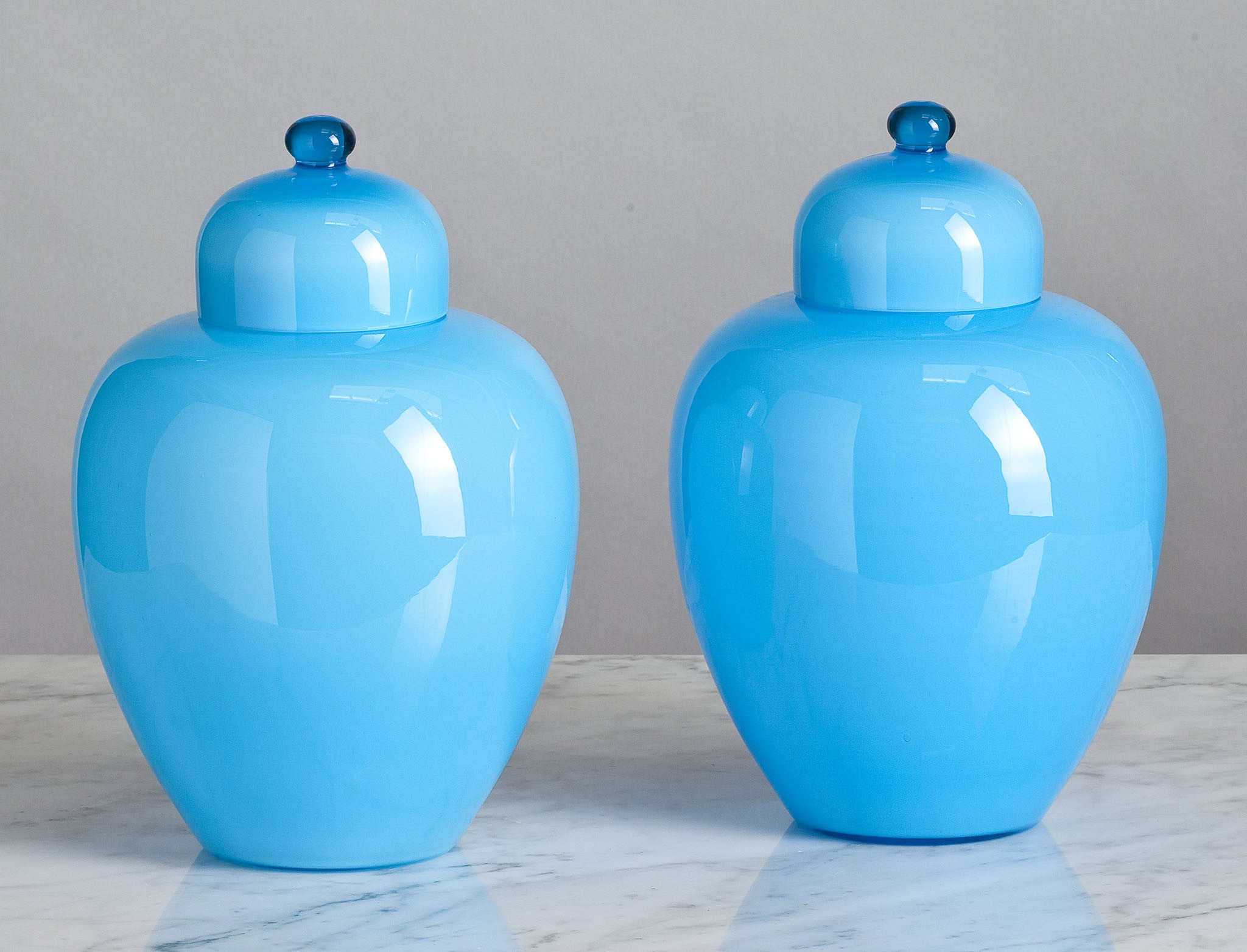 C012  A Very Decorative Pair of English, 19th Century, Turquoise Jars & Covers - Circa 1860