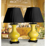 C051  A Very Decorative Pair Of Contemporary Chinese Yellow Bottle Shaped Lamps