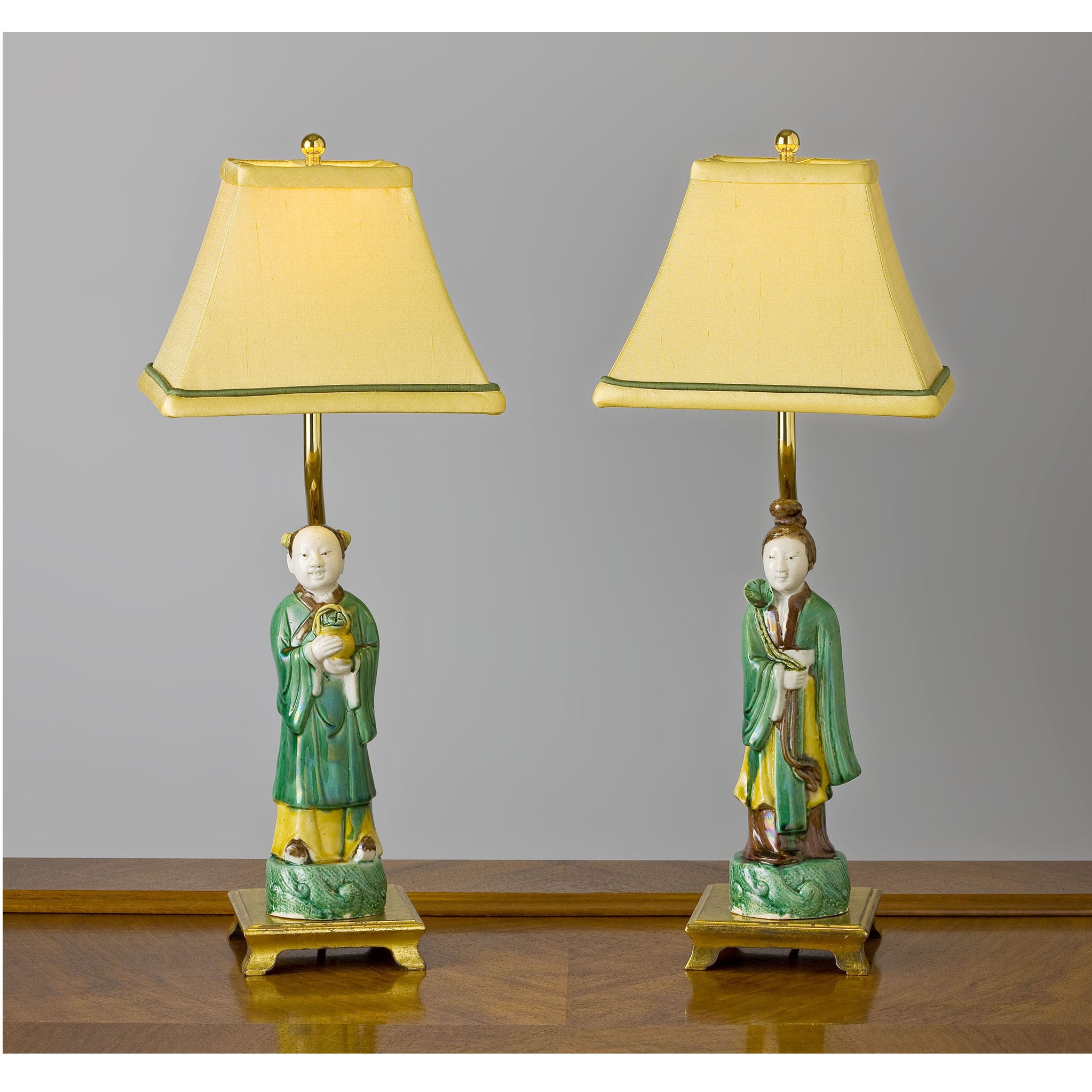 "C092 A Delightful Pair of  Antique ""Chinese Immortals"" Accent Lamps - Circa 1850"