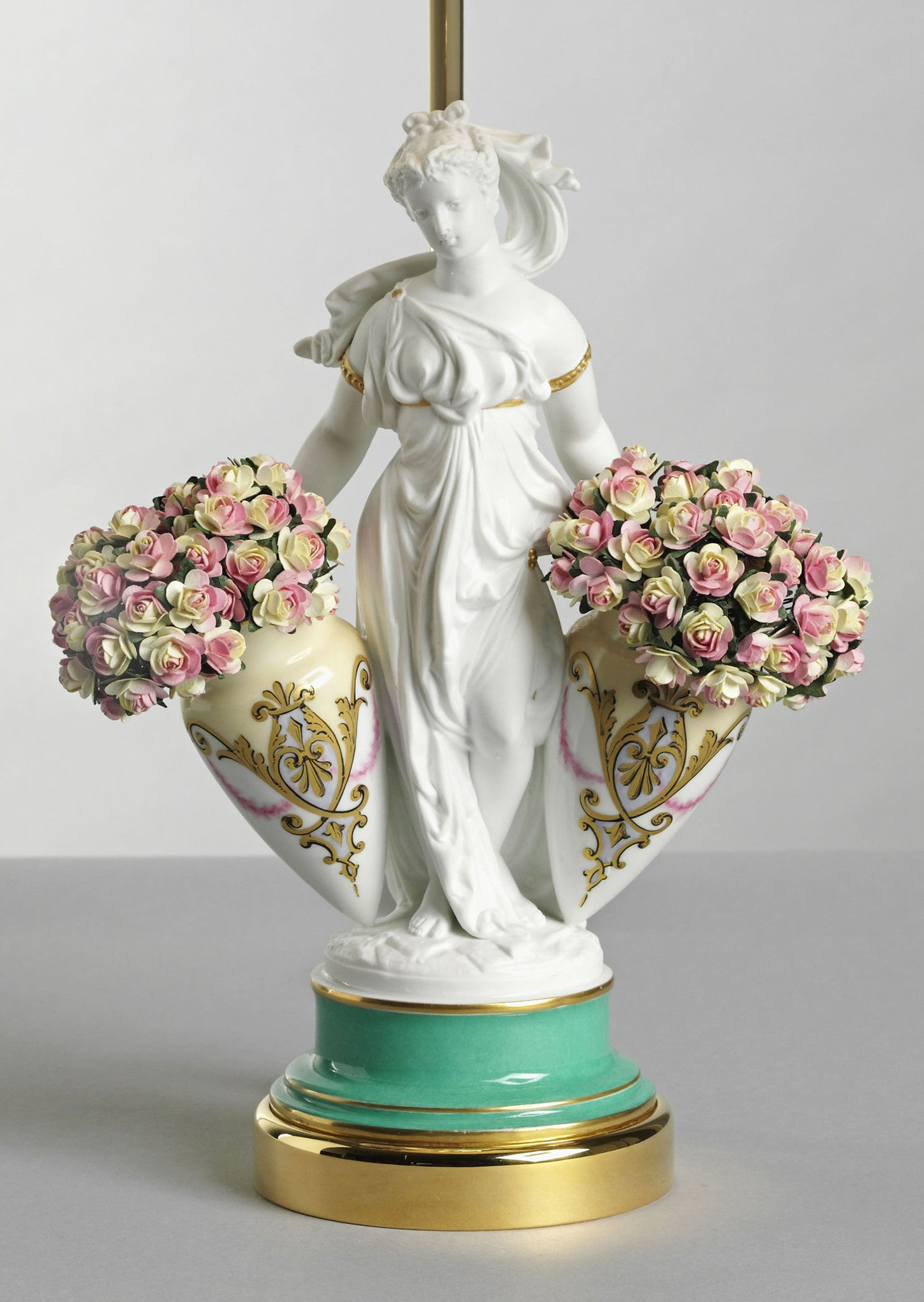 "D001  Antique French 19th Century Parian Lamp, ""The Goddess Flora"" - Circa 1880"