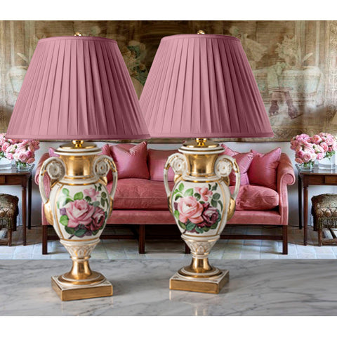 D039 A Very Decorative Pair of Vintage Italian Rose Painted Lamps - 1930's