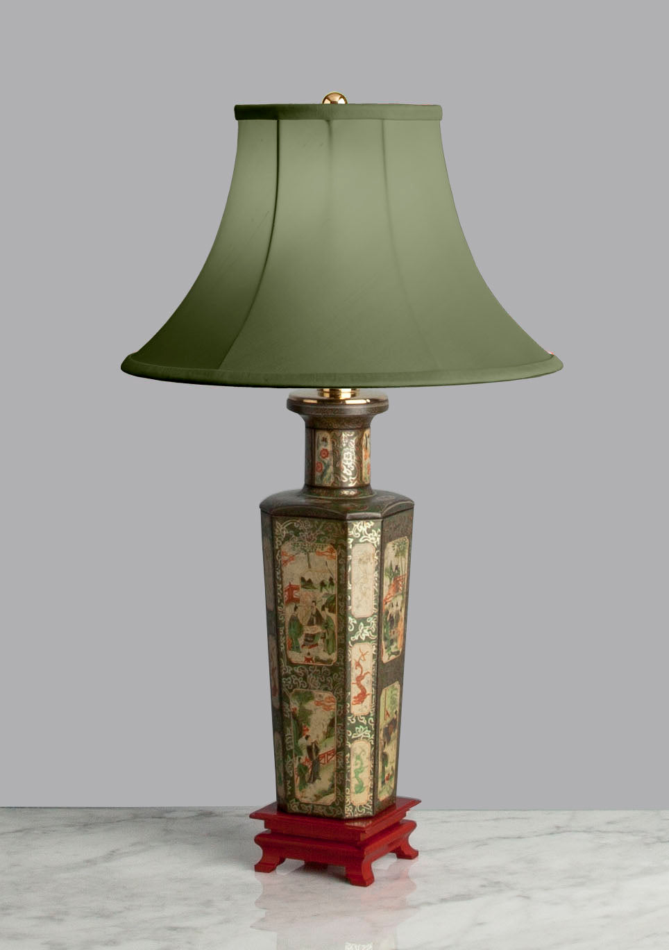 D054  An English Tôleware Chinoiserie Accent Lamp of Square Shape - Dated 1928