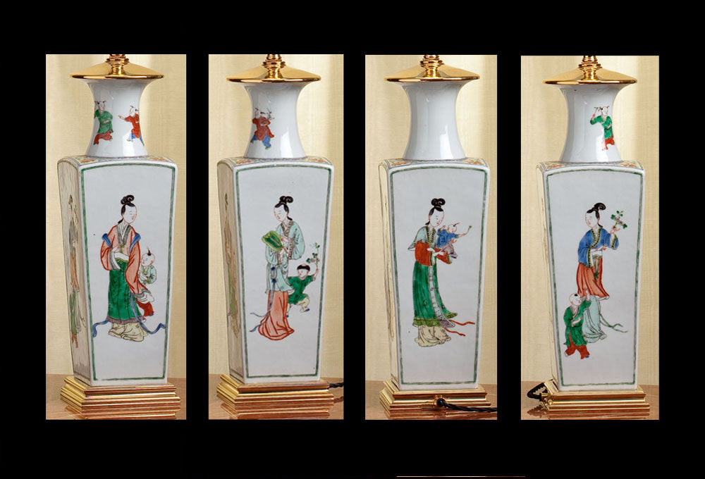 "D060 A Tall Chinese Lamp Of Square Form ""Mother and Child"" - Circa 1870"