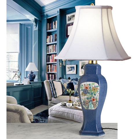 A Stylish Samson Of Paris Powder Blue, Art Deco Era Lamp- Circa 1920's