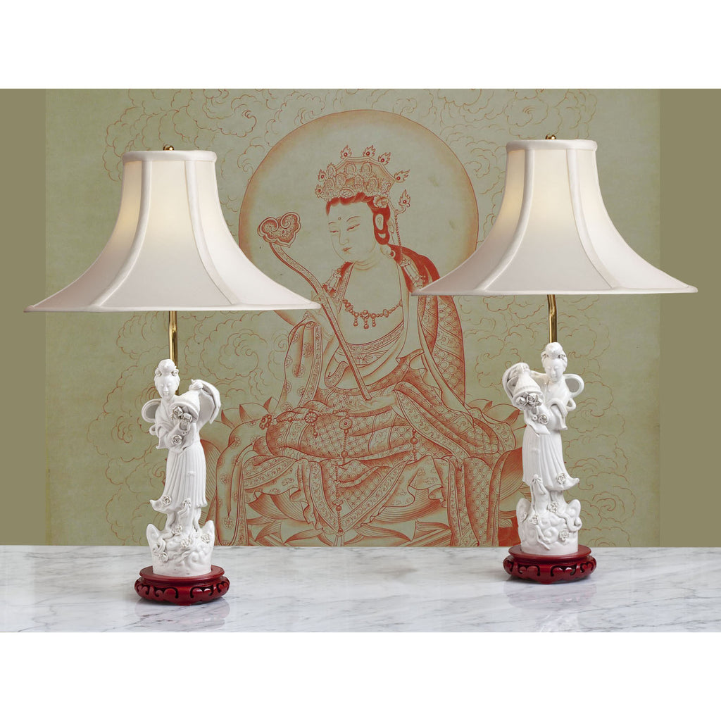 D079  A Mirror Image Pair Of Chinese Blanc-de-Chine Figures as Lamps - Circa 1860