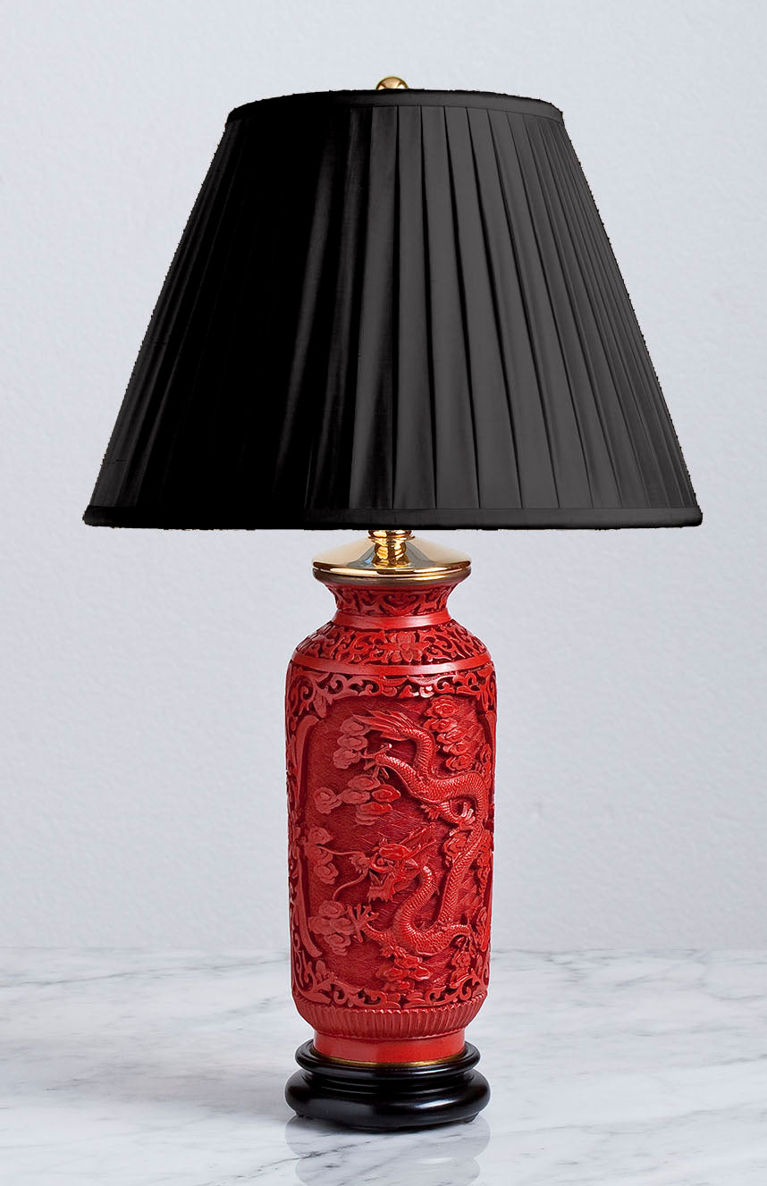 D090  A Very Fine Quality Antique Chinese Red Lacquer-Ware Accent Lamp - Circa 1900