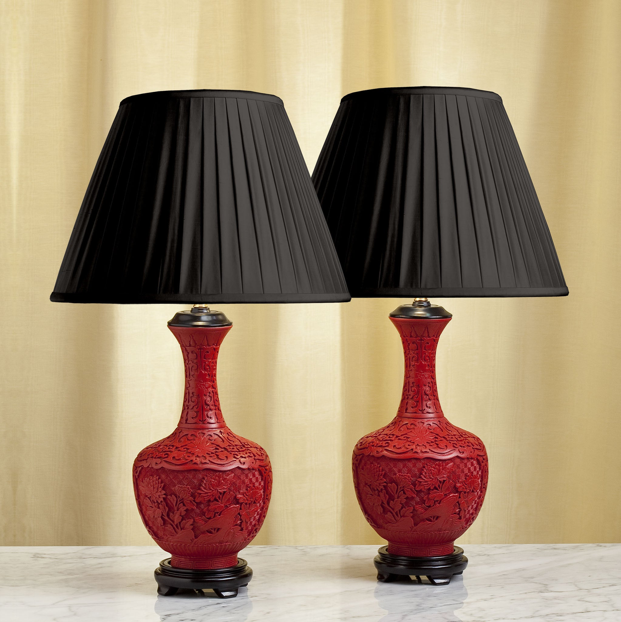 D096 A Decorative Pair of Contemporary, Chinese Cinnabar, Bottle Shaped Lamps