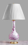 E006  A Tall Italian Majolica Lamp, Superbly Painted In Mulberry Monochrome - Circa 1950's