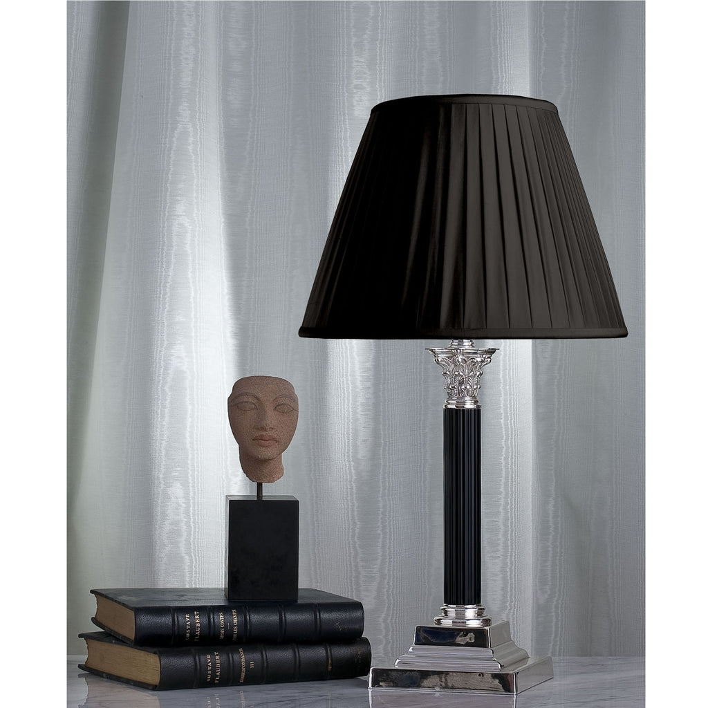 E009a  A Smart Black Enamel and Silver Corinthian Column Lamp  - Circa 1910
