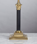 E009b A Smart, English, Brass & Black Enamel, Fluted, Corinthian Column Lamp - Circa 1910