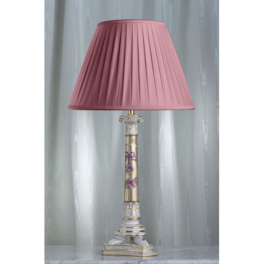 E010  A Very Tall Antique Karl Thieme of Dresden Corinthian Column Lamp - Circa 1910