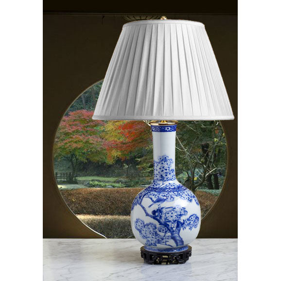E017 A Tall 19th Century, Japanese Blue and White Bottle Shaped Lamp - Circa 1870