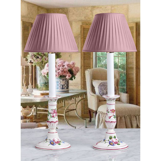 E019  An Exceptionally Pretty Pair Of French Faience Candlestick Accent Lamps-Circa 1910