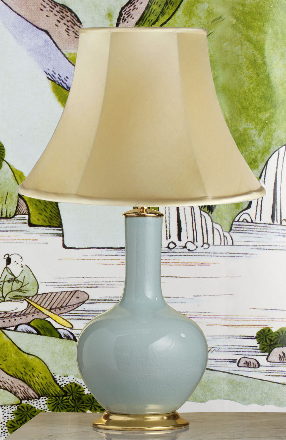 E026   A Tall Contemporary Classic Chinese Bottle Shaped Celadon Lamp