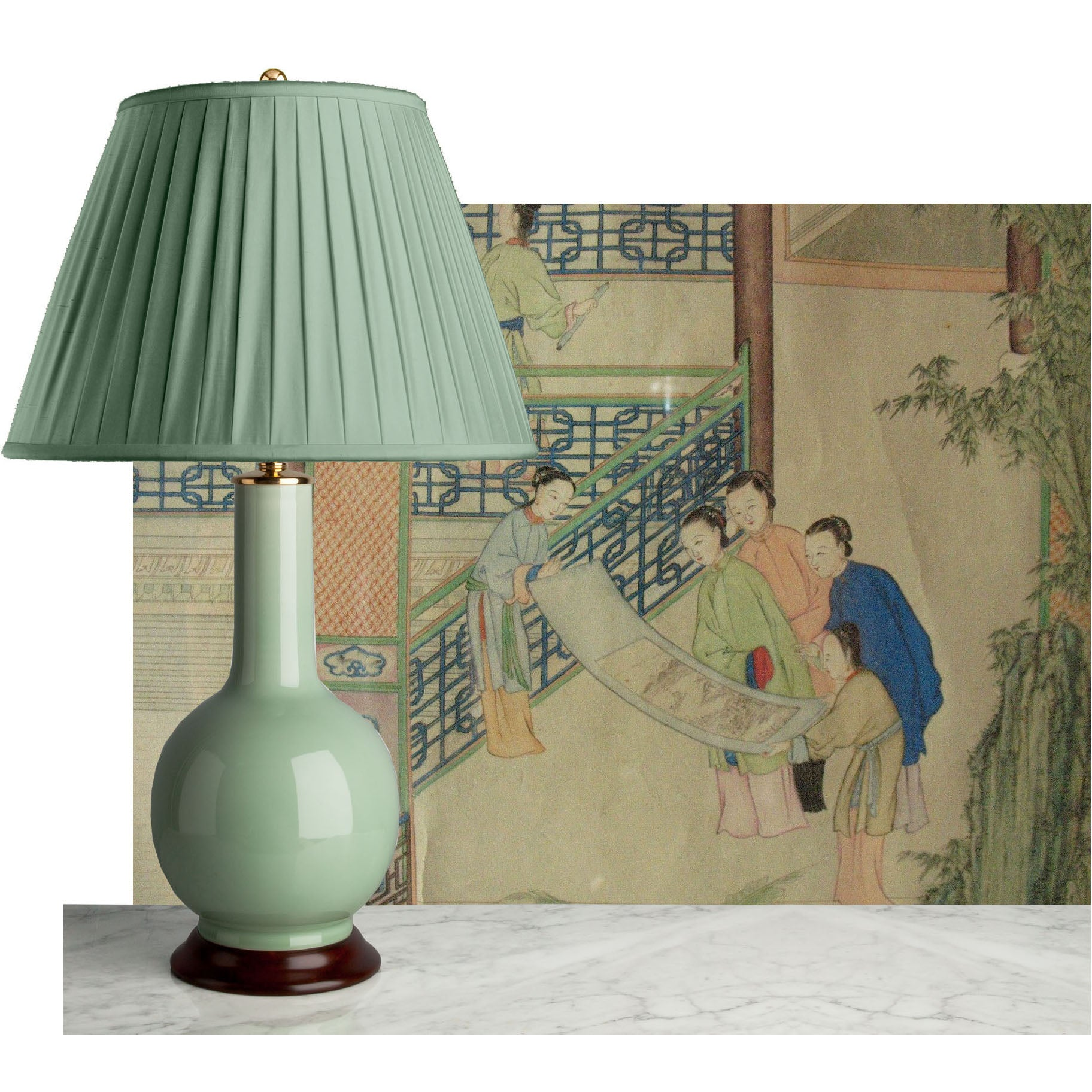 E031  An Early 20th Century, Bottle Shaped Celadon Chinese Lamp - Circa 1910