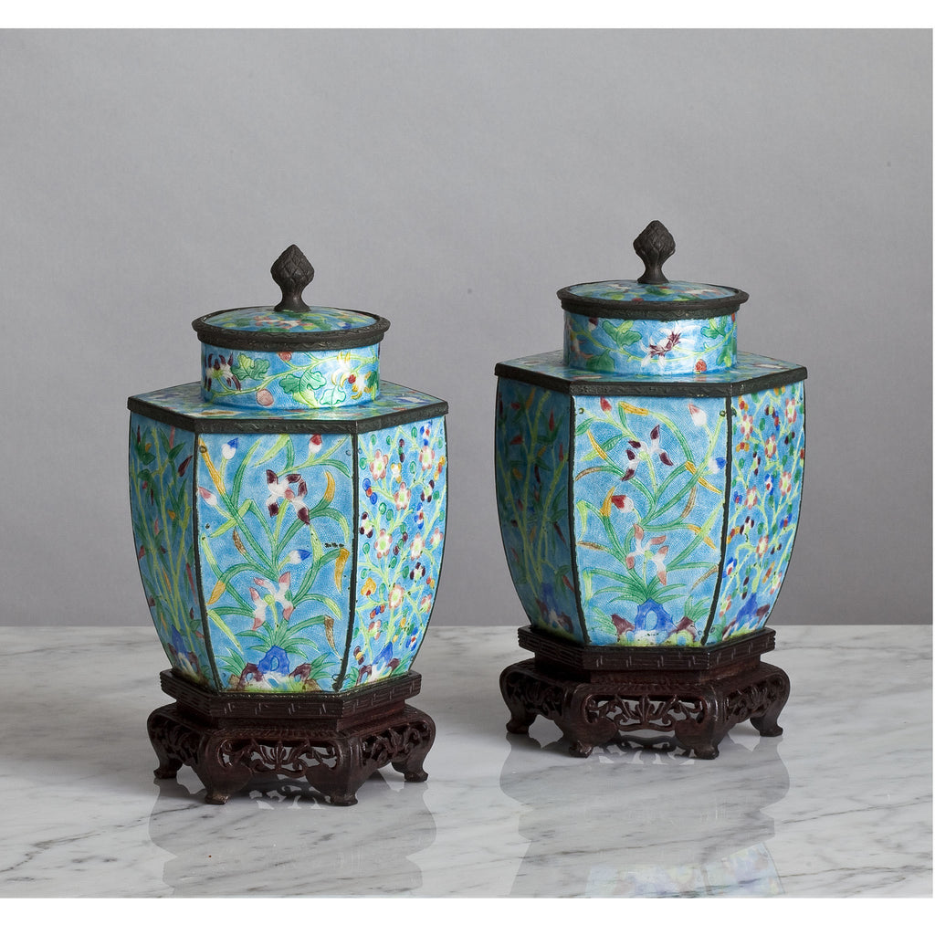 E046 A Pretty Pair of Chinese, Cloisonné, Hexagonal Jars and Covers - Circa 1890