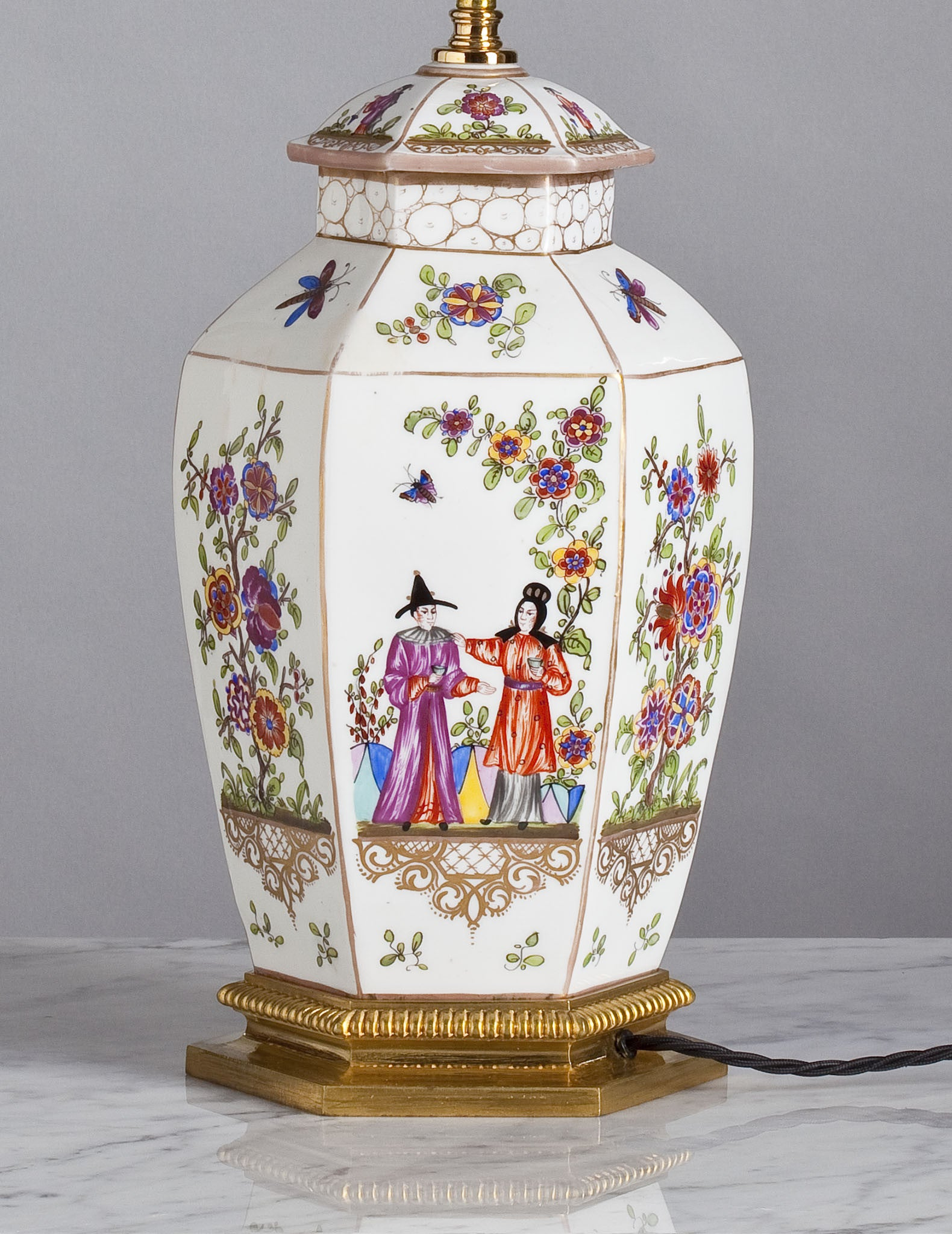 E053  A French, Samson of Paris Lamp in Meissen, Chinoiserie Style - Circa 1910