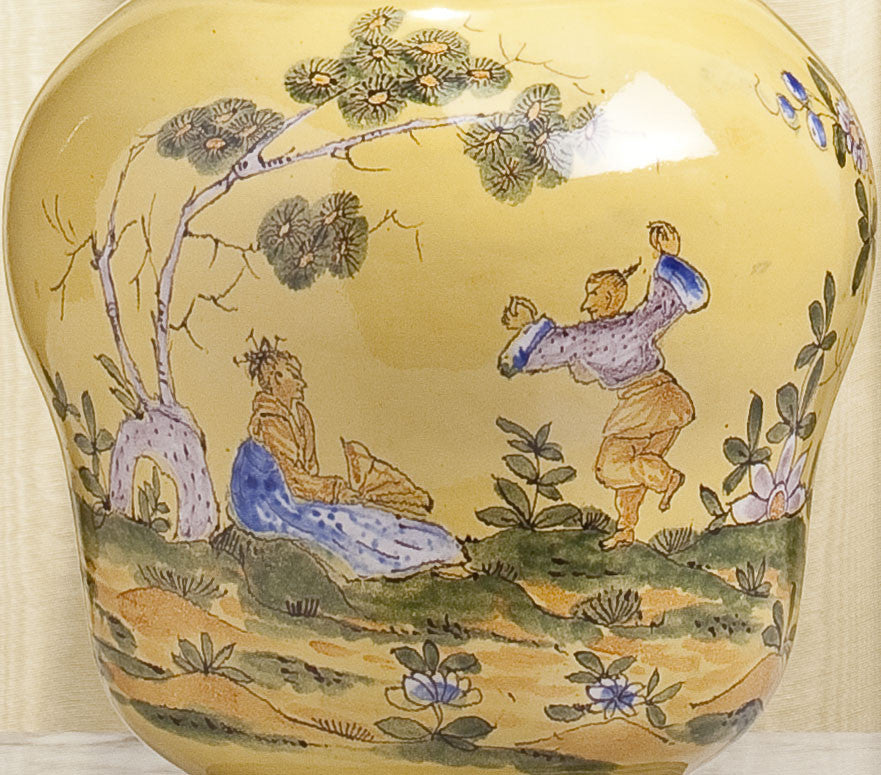 E054 A Mid 18th Century, French Chinoiserie, Yellow, Montpellier Faience Lamp - Circa 1750