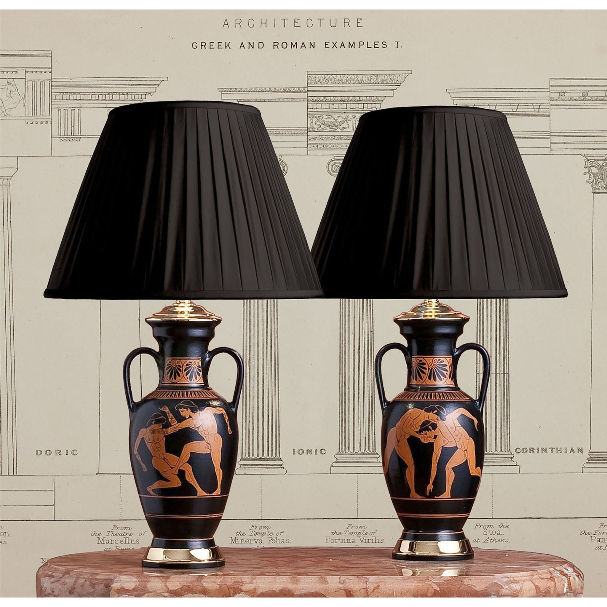 E062 A Very Smart Pair Of Contemporary Lamps In Classical Greek Amphora Style