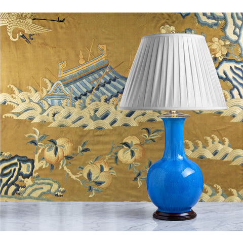 E070  A Vintage Chinese Bottle Shaped Lamp With A Rich Turquoise Glaze - Circa 1950's