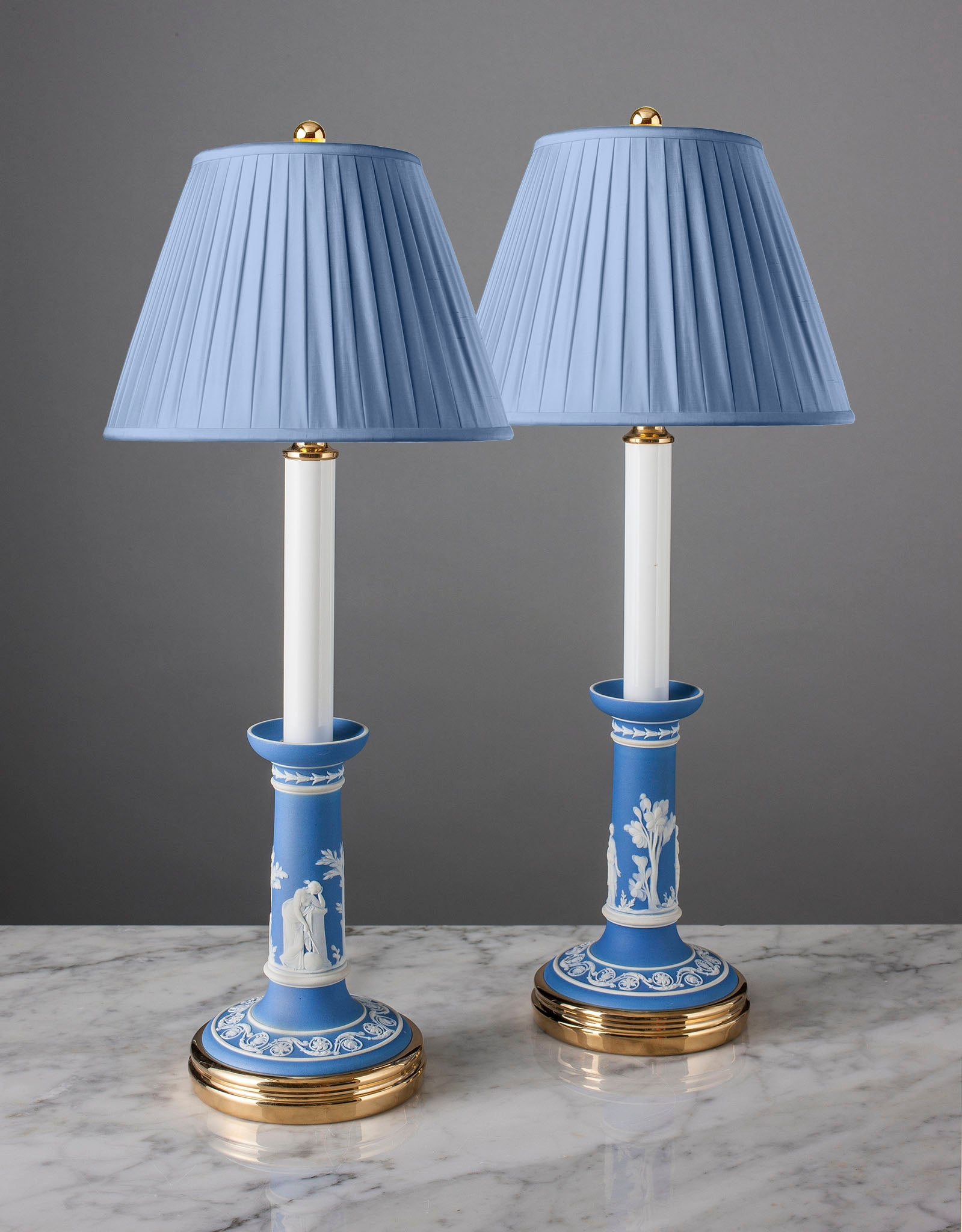 E081  A Fine Pair Of 19th Century Wedgwood Blue Jasper Candlestick Lamps - Circa 1870