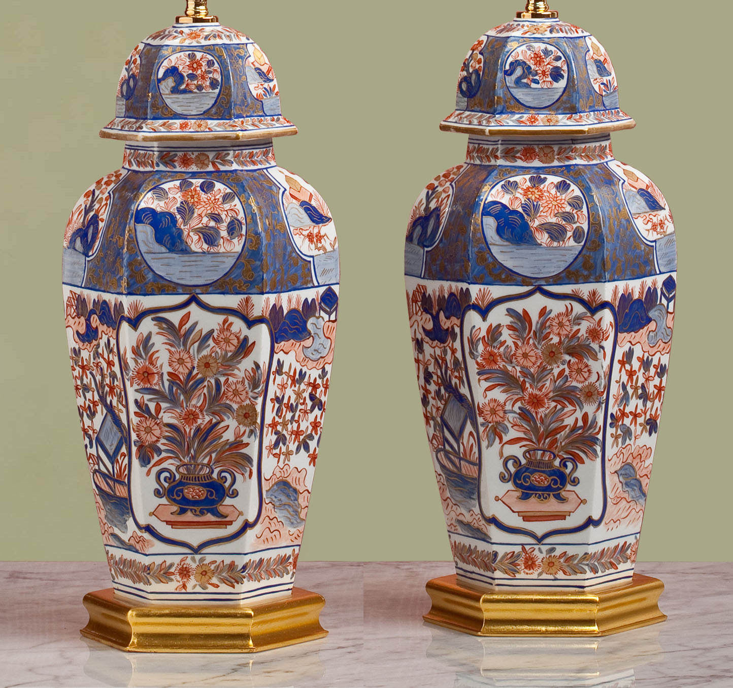 E093  A Superb Large Pair of French Limoges Hexagonal Shaped Lamps - Circa 1950's