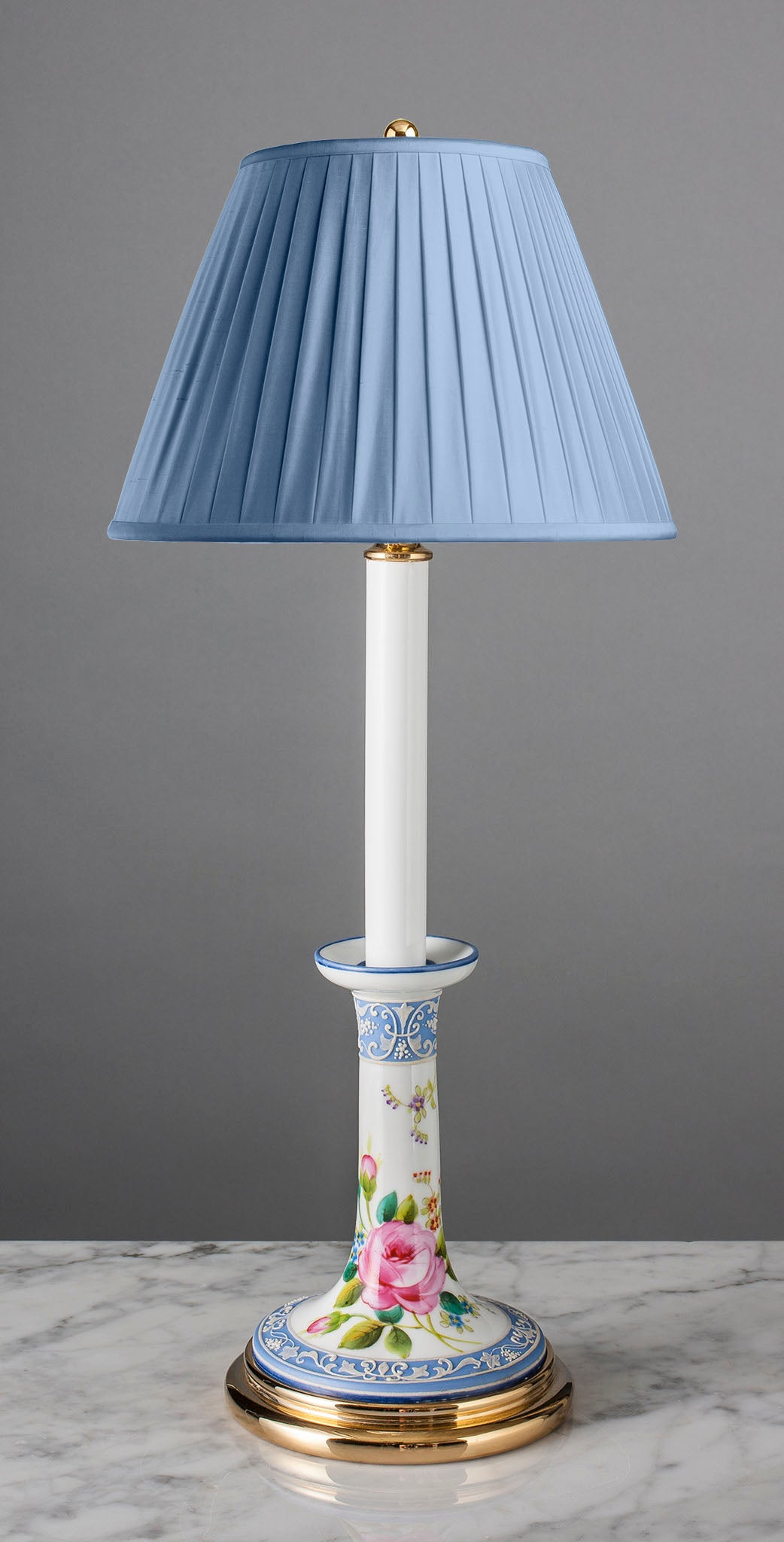 E098  A Japanese Wedgwood Style Moriage Work Candlestick Accent Lamp - Circa 1910