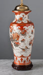 F001  A Tall Decorative Meiji Era Japanese 19th Century Kutani Antique Lamp - Circa 1890