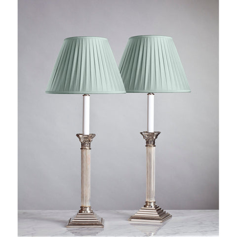 F010 A Fine Pair Of Vintage American, Corinthian Column Lamps - Dated 1992
