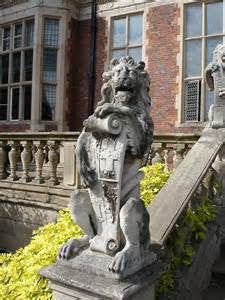 "17th century stone ""lion sejant erect"", seen at Crewe Hall"
