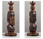 F027 An Impressively Tall, Vintage Hand Carved African Blackwood Lamp - Circa 1920
