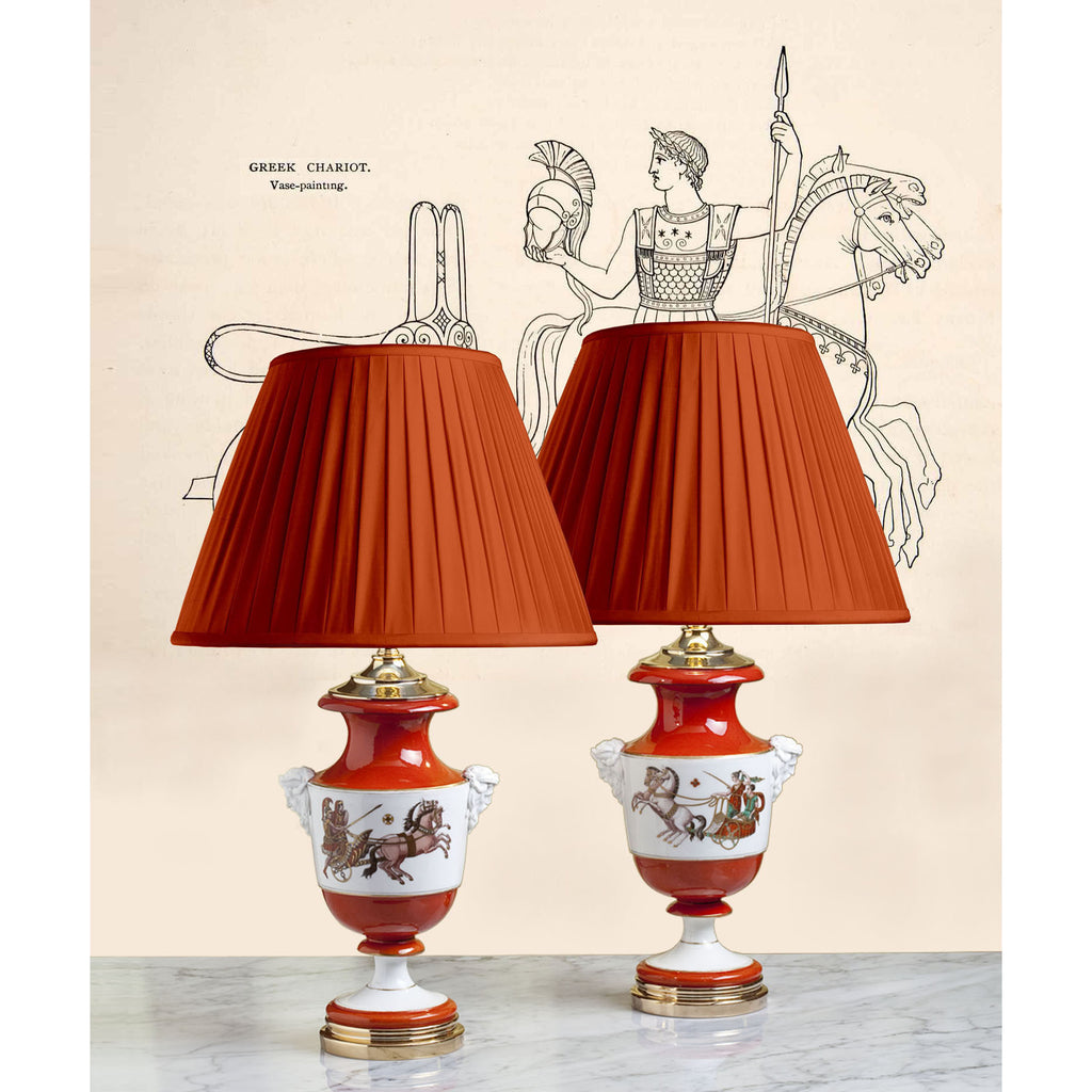 F036  A Smart Pair, French Porcelaine de Paris Greco-Roman Revival Lamps - Circa 1870
