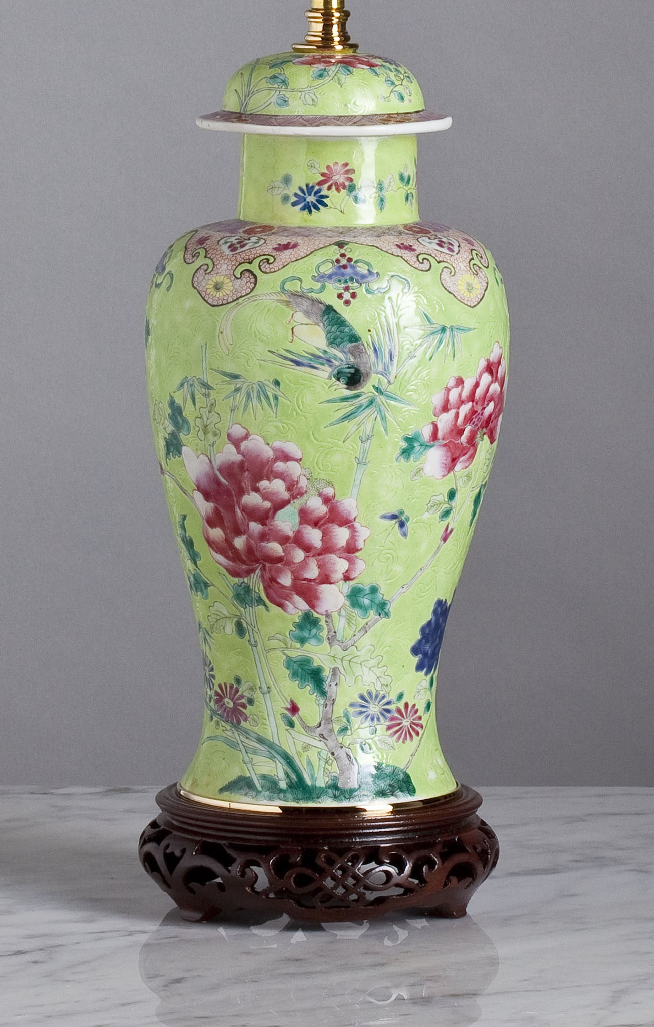 F045  An Early 19th Century, Chinese Lamp With A Rare Lime Green Colour - Circa 1820