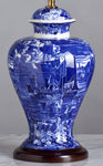 F052  A Large Wedgwood, Jar Shaped Blue And White Porcelain Lamp - Circa 1910