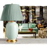 F073   A Very Large Contemporary Chinese Celadon Elephant-Leg Shaped Lamp