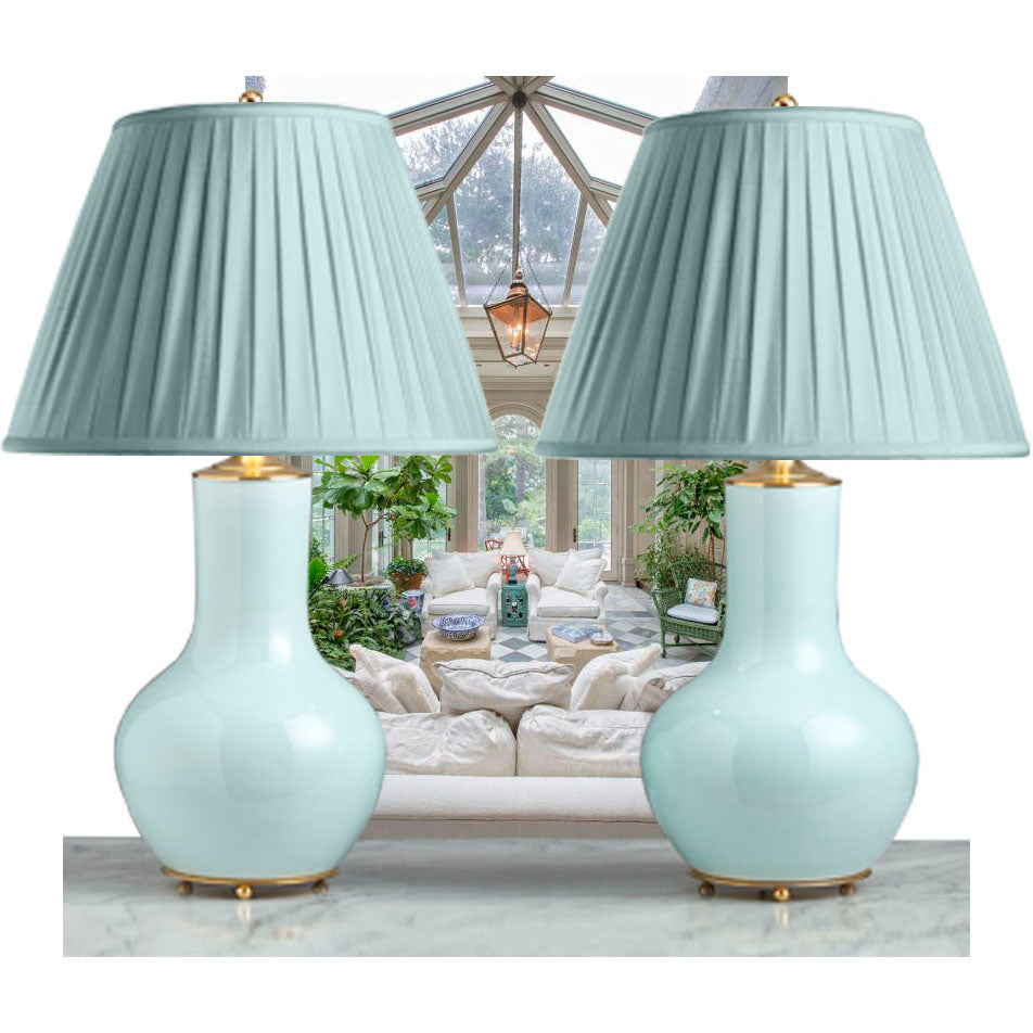 F074 A Large Pair Of Contemporary Chinese Bottle Shaped Lamps In Pale Celadon Glaze