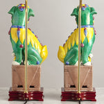 F078  An Exceptionally Decorative Pair of Chinese Lamps As Lions of Fo - Circa 1950