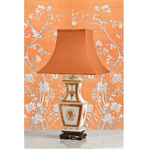 F091  An Elegant American Mottahedeh Lamp in Chinese Fang Hu Shape - Circa 1960