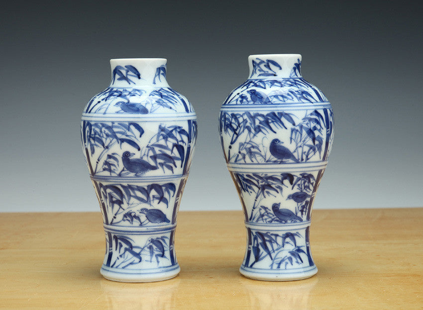 Detail Illustrating An Original Pair Of Early 18th Century Chinese Vases