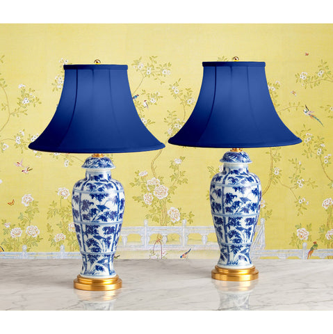 F092  A Pair Of Mottahedeh Accent Lamps In 18th Century Chinese Style - Circa 1960's