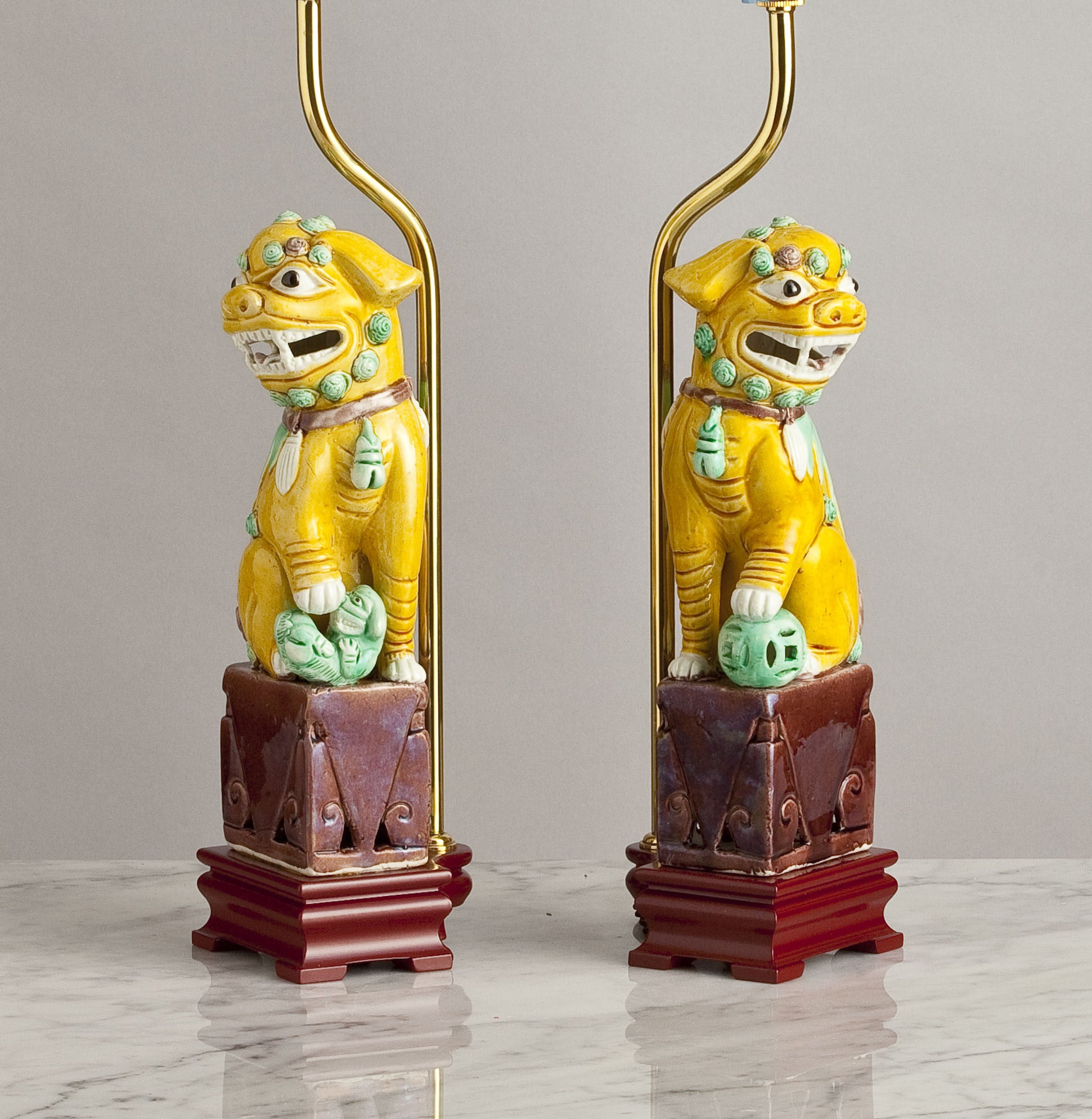 F093  A Decorative Pair of Vintage, Chinese Bisque Lamps As Lions of Fo - Circa 1950